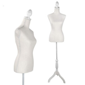 Female Mannequin Torso Body Dress Form With White Adjustable Tripod Stand Pinnab