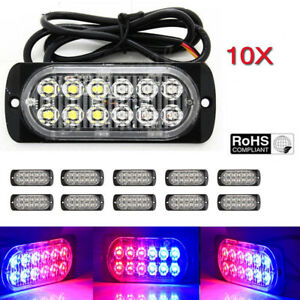 10x Red Blue 12 Led Strobe Light Bar Truck Beacon Flash Warning Emergency 12 24v