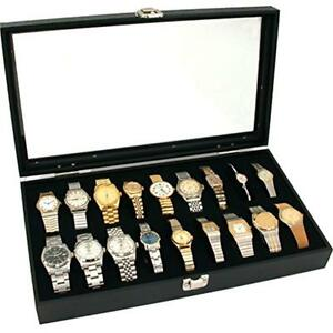 18pc Black Watch Travel Tray Showcase Display Case Unit W Plexi Plas