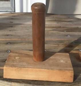 Vintage Wooden Butter Press Plain Handle Only 5 Tall Rectangular Primitive Decor