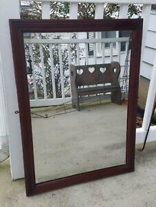 Vintage Antique Large Vanity Wall Mirror Wood Frame Glass Primitive 33 X 24