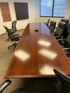 Traditional Cherry Conference Board Room Table 16 Ft With Power network Integ