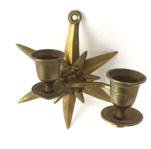 Vintage Art Deco Gold Brass Color Star Wall Sconce Double Candle Holder