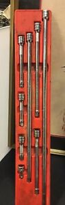 8 Mixed Snap On Tool Wobble flex 3 8 drive Ratchet Socket extension Knuckled Set