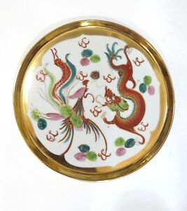 Vintage Chinese Dragon Phoenix Plate Platter Porcelain Hand Painted 10