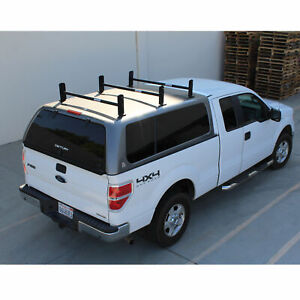 Universal Pickup Truck Cap Topper 3 Bar Ladder Roof Van Rack Adjustable Steel