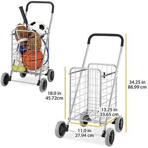 Folding Shopping Cart Rolling Utility With Wheels Laundry Grocery Travel Storage