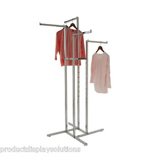 4 Way Clothing Garment Display Rack With 4 Straight Arms 1 Square Chrome