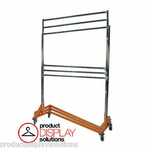 Adjustable Height Double Rail Commercial Grade Display Z Rack Orange Base