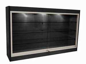 Economy Wall Mount Glass Display Case Showcase Black 48 L New York Pickup