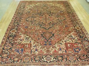 Vintage 9x12 Geometric Heriz Antique Wool Hand Knotted Persian Oriental Rug
