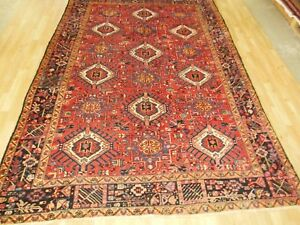 Vintage 8x11 Geometric Krajeh Antique Wool Hand Knotted Persian Oriental Rug