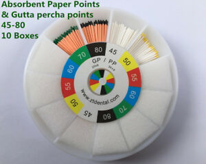 Dental Absorbent Paper Points Gutta Percha Points 45 80 10 Boxes