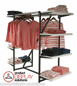 Combination Clothing Garment Display Rack W Double Hangrail Eight Shelves