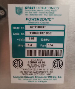 Crest Ultrasonic Parts Washer cleaner Cp1100 ht