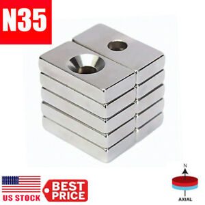 N35 Super Strong Block Magnets 20x10x4mm Hole 4mm Rare Earth Neodymium Wholesale