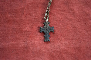 Ancient Roman Bronze Cross 2 6g Made On Necklace