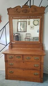 Vintage Antique Oak Dresser With Carved Beveled Mirror