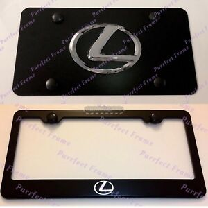 Lexus F Sport Stainless Black Front License Plate Frame Combo Rust Free