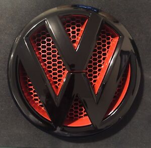 Vw T5 T5 1 Transporter T5 Front Emblem Grille Badge Logo Black Red 2010 2016