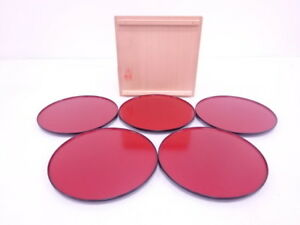 3974281 Japanese Tea Ceremony Rede Lacquered Serving Plate Set Of 5