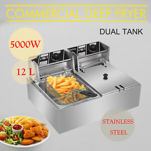 12 7qt Commercial Electric Deep Fryer 2 Tank Stainless Steel Frying Machine 5kw
