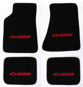 New Carpet Floor Mats 1982 2002 Camaro Z28 Embroidered Logo In Red On All 4 Mat