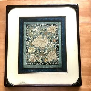 Vintage Chinese Silk Embroidery Flowers And Butterfly Panel With Fine Frame