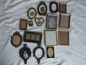 L 16 Vtg Miniature Brass Metal Italy Easel Back Picture Frames
