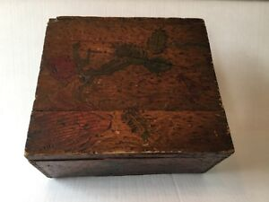 Antique Folk Art Wood Box Hand Painted And Burned In Flowers Silk Lined Brass
