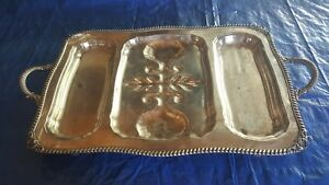 Vintage Ornate Silver Plated Butler S Double Handle Serving Tray