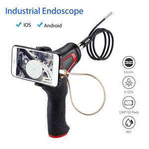 5 5mm Endoscope Borescope Inspection Camera 0 8m 6led Hard Cable For Android ios