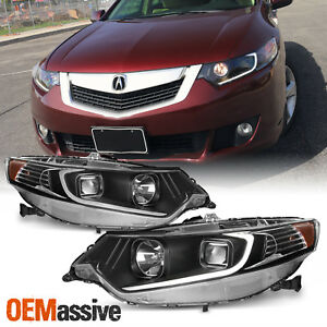 2009 2014 Acura Tsx Led Drl Tube Projector Black Headlights Headlamps Left right