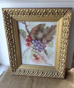 Antique Hand Painted Porcelain Tile Plaque Framed Original