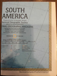 1972 National Geographic Magazine 30 X 22 Map Of South America 00064