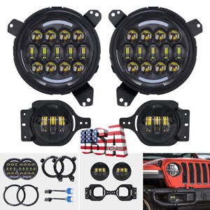 105w 7 Round Led Headlights 4 Fog Light Mounting Brackets For Jeep Wrangler Jl