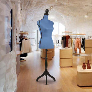 Blue Linen Fabric Female Mannequin Torso Dress Form Adjustable Tripod Stand G3b9