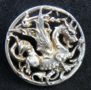 Exquisite Antique Sterling Silver French Dragon Mythology Collectable Button