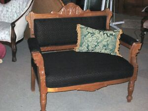 Victorian Eastlake Parlor Settee Bustle Chair Exceptional New Upholstery