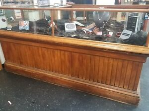 Antique Wood Display Case With Storafe