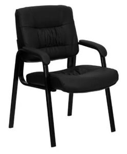 Leather Executive Guest And Reception Chair Black