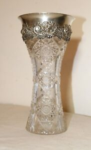 Antique Ornate Sterling Silver Queen Lace Hand Cut Crystal Flower Vase Brilliant