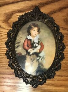 Small Vintage Ornate Metal Oval Boy Dog Picture Frame Made In Italy