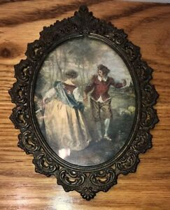 Small Vintage Ornate Metal Oval Couple Dancing Picture Frame Made In Italy