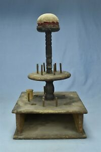Antique Victorian Oak Thread Spool Holder With Pincushion On Wood Spindle 06523