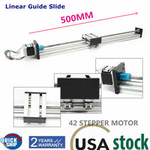 Cnc Linear Rail Guide Slide Stage 500mm Travel Linear Actuator Stepper Motor Usa