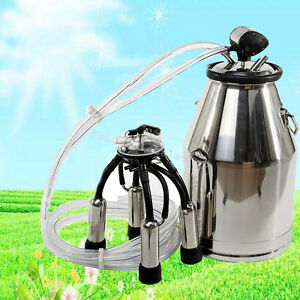 Portable Dairy Cow Milking Machine Milker Bucket Tank Barrel Ss Large Capacity