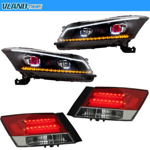 For Honda Accord 2008 2012 4 door Sedan Sequential Led Drl Headlights taillights
