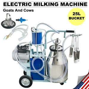 Portable Electric Milking Machine Milker Goats Cows Stainless Steel 25l Bucket