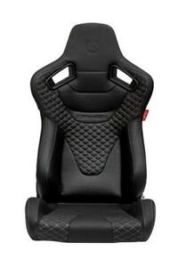 Cipher Auto Ar 9 Revo Black Leatherette Grey Diamond Stitching Racing Seats Pair